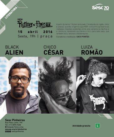 SESC Pinheiros recebe Chico César, Black Alien e Luiza Romão no Sarau Ritmo e Poesia